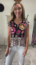Load and play video in Gallery viewer, Leopard Embroidered Flutter Sleeve Tank, Free Shipping!