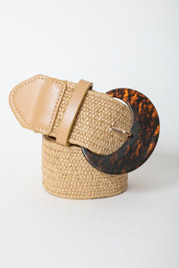 Take Me to the Tropics Tan Woven Raffia Bamboo Belt