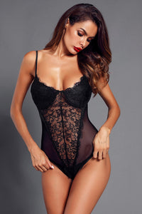 Amala Black Sheer Lace Bustier Bodysuit, Free Shipping!