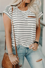 Load image into Gallery viewer, Stay Stylish White Striped Suede Pocket Top, free Shipping!