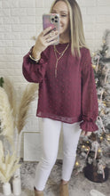 Load and play video in Gallery viewer, Sheer Romance Burgundy Swiss Dot Long Sleeve Top, Free Shipping!