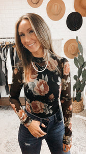 Get Together Black Floral Print Long Sleeve Bodysuit, Free Shipping!