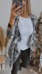 Ode to Cozy Grey Plaid Lightweight Jacket