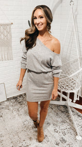 Off The Shoulder Heather Grey Sweater Dress, Free Shipping!