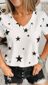 JUnder the Stars Ivory Vintage Graphic Tee, Free Shipping!