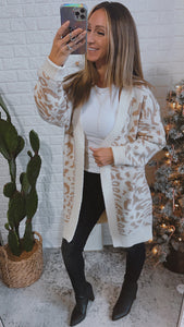 Out In The Wild Animal Print Cardigan Cream/Beige, Free Shipping!