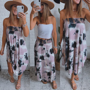 Across the Waters Mauve Tie Dye Maxi Skirt, Free Shipping!