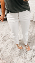 Load image into Gallery viewer, All Talk White High Rise Denim Straight Leg Jeans
