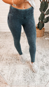 Mineral Washed Wide Waistband Yoga Leggings, Free Shipping!