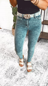 High Rise Acid Wash Skinny with Mini Side Slit, Free Shipping!