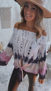 Vintage Smocked Off-The-Shoulder Tie-Dye Top, Free Shipping!