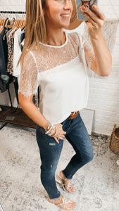 Lisa Marie White Lace Embroidered Top, free Shipping!