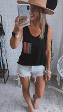 Load image into Gallery viewer, Just Chillin' Black Multicolor Pocket Tank Top, Free Shipping!