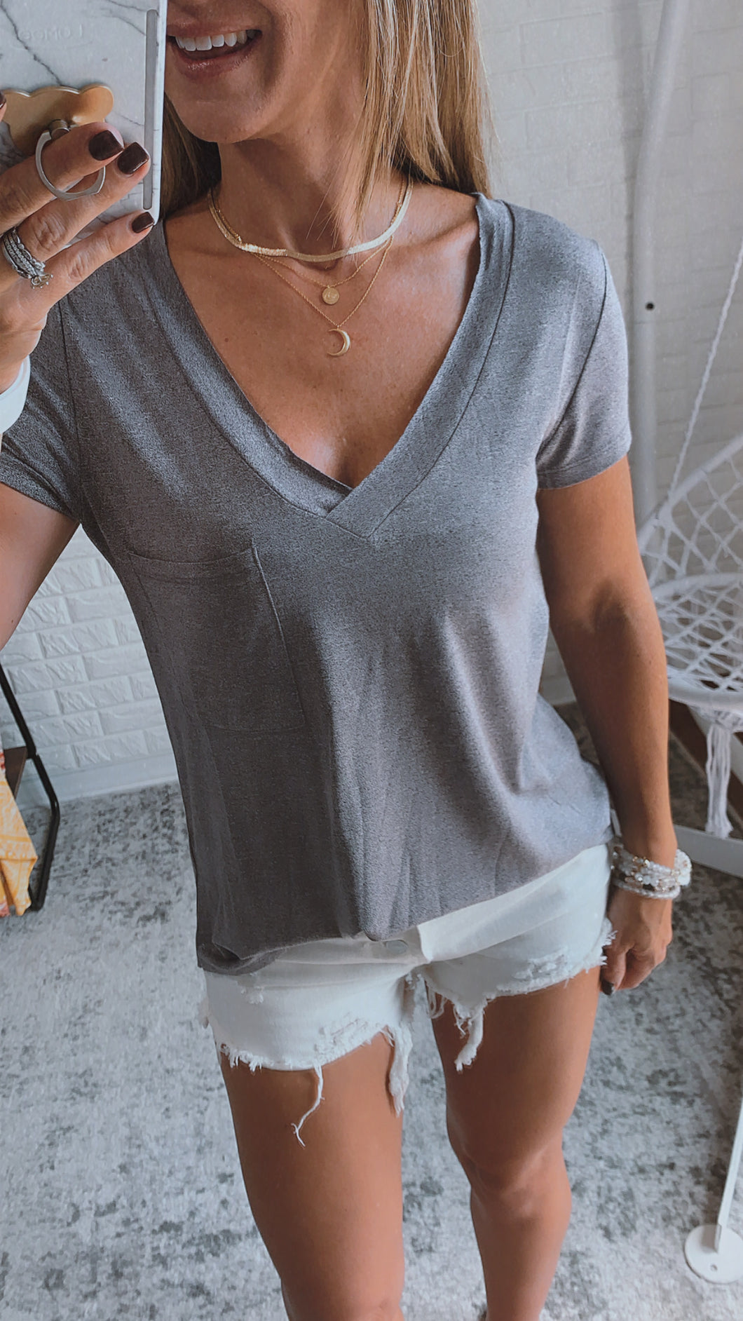 Tee for You Basic V-neck Front Pocket Tee, Free Shipping!