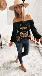 Vintage Embroidered Off-The-Shoulder Top, Free Shipping!
