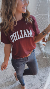 Malibu Burgundy Graphic Tee, Free Shipping!
