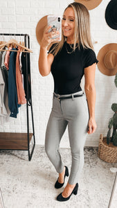 Kick It Grey High-Waisted Trouser Pants, Free Shipping!