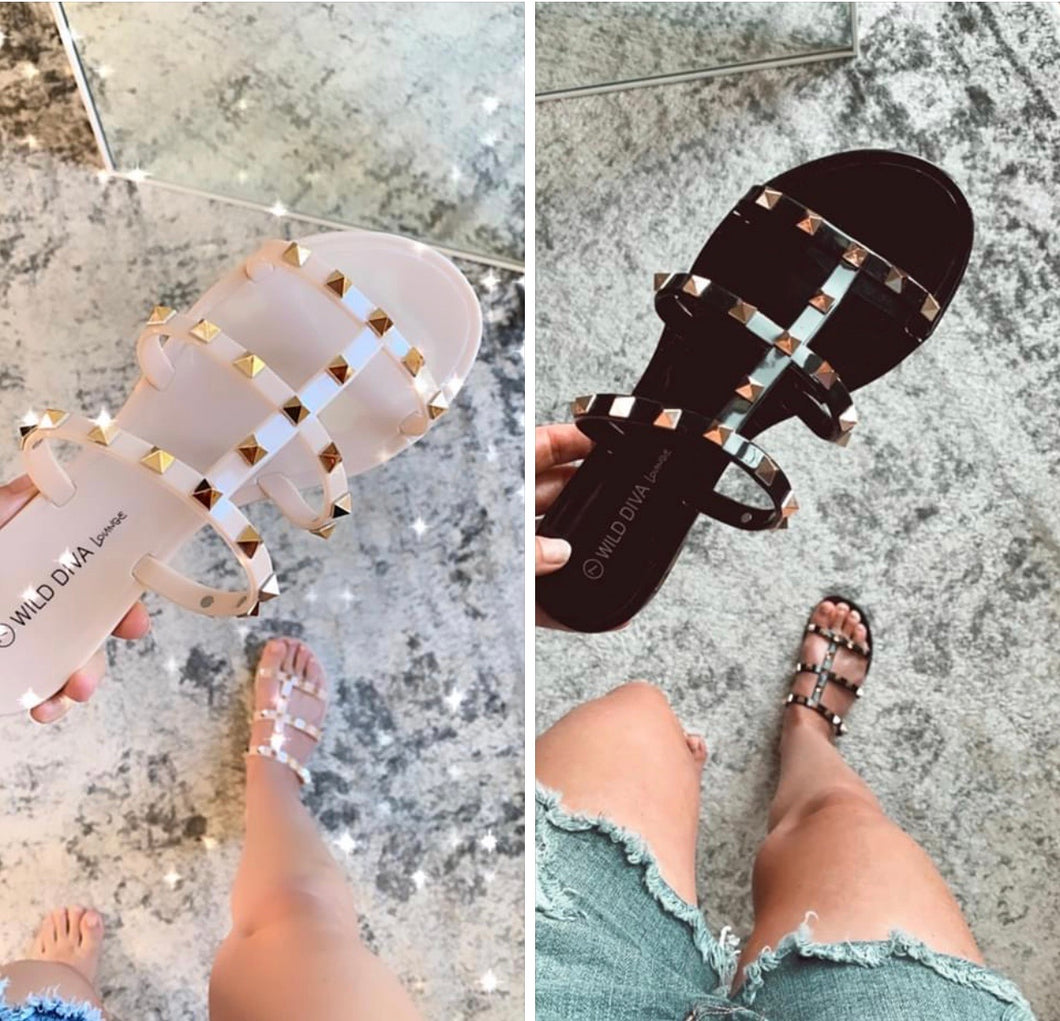 Re-Stock Alert on our Best Seller Malania Jelly Studded Slide Sandals, Free Shipping!