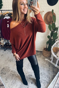 DOORBUSTER!!! Brushed Melange Off the shoulder Sweater