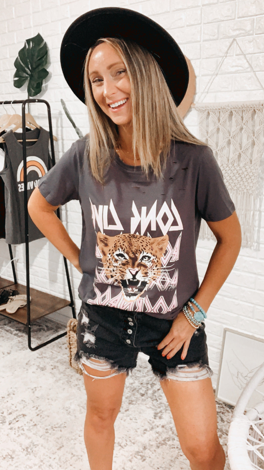 Long Live Rocker Tee Washed Graphic Tee, Free Shipping!