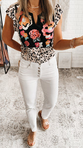 All Talk White High Rise Denim Straight Leg Jeans