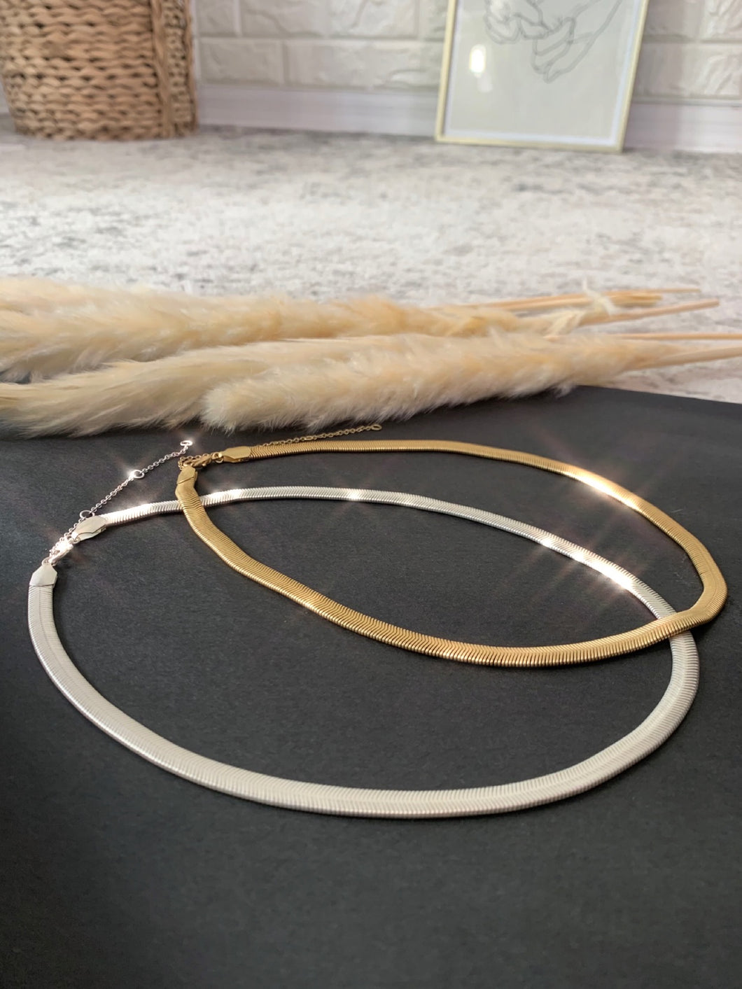 Thick Herringbone Necklace Gold or Silver, Free Shipping!
