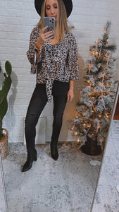 Something in Common Leopard Button-Up 3/4 Sleeve Top, Free Shipping!