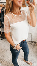 Load image into Gallery viewer, Lisa Marie White Lace Embroidered Top, free Shipping!