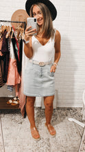 Load image into Gallery viewer, Breath of Fresh Air Light Wash Distressed Mini Skirt, Free Shipping!
