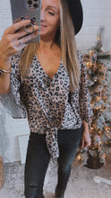 Load image into Gallery viewer, Something in Common Leopard Button-Up 3/4 Sleeve Top, Free Shipping!