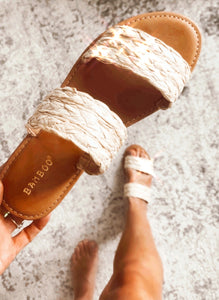 Time to Chill Natural Raffia Slide Sandals, Free Shipping!