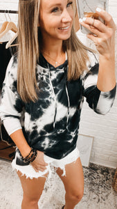 Captivating Love Tie Dye V-neck Hoodie Black, Free Shipping!