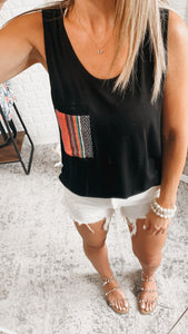 Just Chillin' Black Multicolor Pocket Tank Top, Free Shipping!