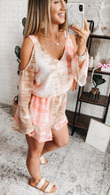 Load image into Gallery viewer, Hanna Designer Ivory Tie Dye Cold Shoulder Romper, Free Shipping!