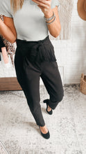 Load image into Gallery viewer, Set Your Goals Black Paper Bag Waist Pants, Free Shipping!