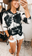 Load image into Gallery viewer, Captivating Love Tie Dye V-neck Hoodie Black, Free Shipping!