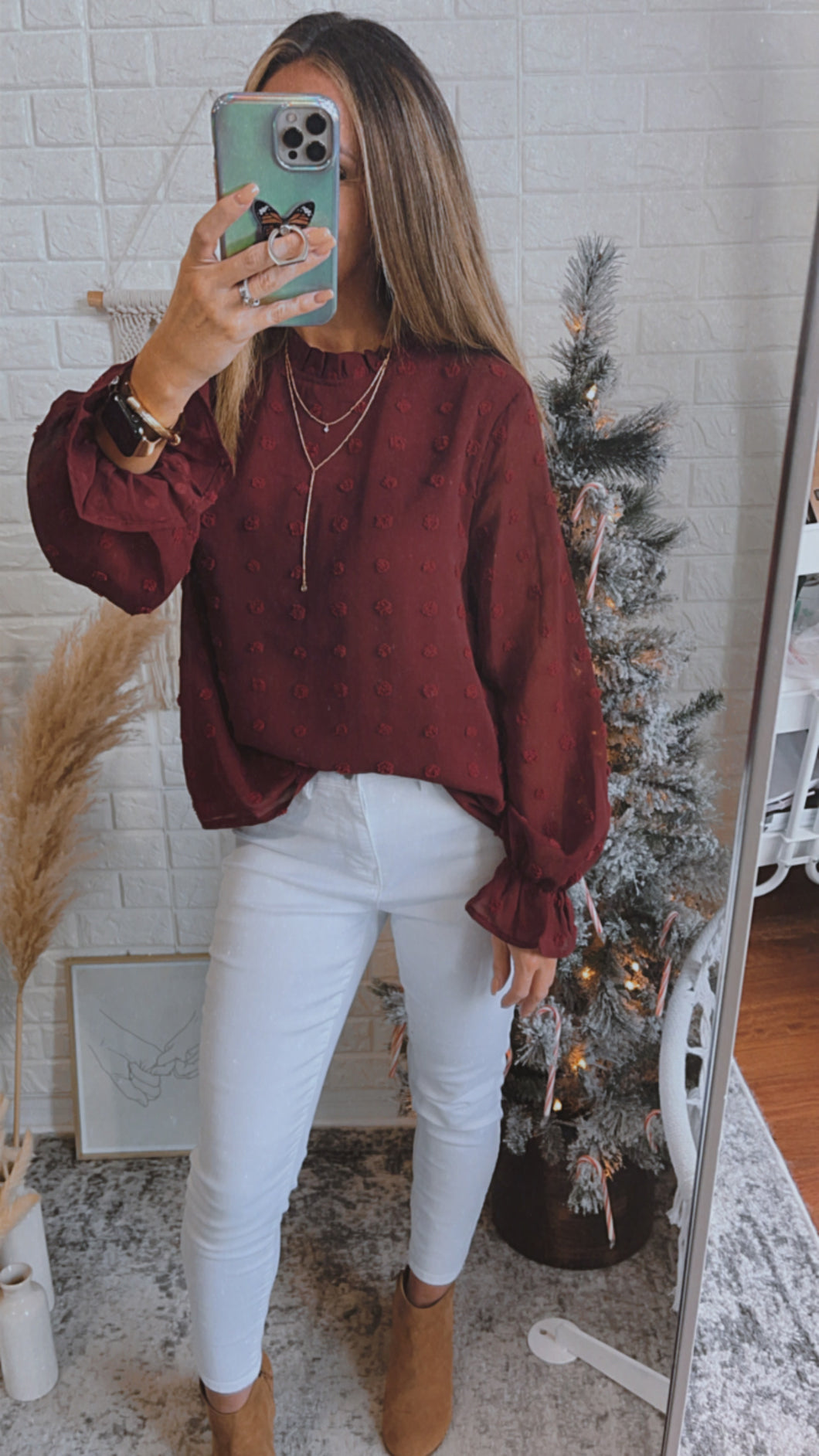 Sheer Romance Burgundy Swiss Dot Long Sleeve Top, Free Shipping!