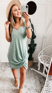Hazel Shirt Dress with Front Twist Detail, Free Shipping!