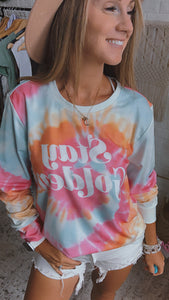 Stay Golden Swirl Dye Pullover Long Sleeve, Free Shipping!