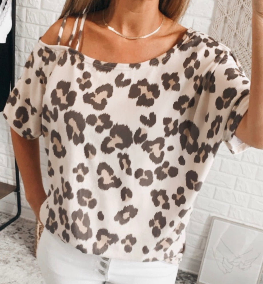 Amberlynn Taupe Leopard Print Short Sleeve Once Shoulder Strapped Top, Free Shipping