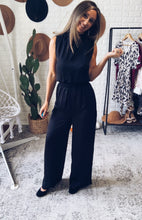 Load image into Gallery viewer, Black Sleeveless Silk Jumpsuit, Free Shipping!