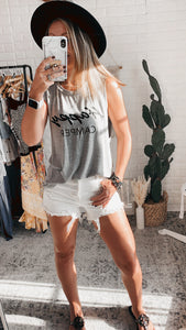 Natural State Happy Camper Grey Tank Top, Free Shipping!