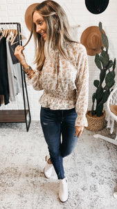 Stay Lovely Ivory Embroidered Long Sleeve Top, Free Shipping!