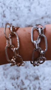 Chain Bracelet With Hammered Stamped Details, Free Shipping!