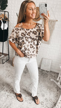 Load image into Gallery viewer, Amberlynn Taupe Leopard Print Short Sleeve Once Shoulder Strapped Top, Free Shipping