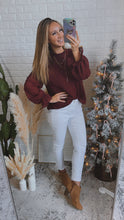 Load image into Gallery viewer, Sheer Romance Burgundy Swiss Dot Long Sleeve Top, Free Shipping!