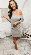 Load image into Gallery viewer, Off The Shoulder Heather Grey Sweater Dress, Free Shipping!