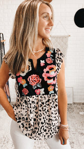 Leopard Embroidered Flutter Sleeve Tank, Free Shipping!