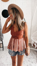 Load image into Gallery viewer, Lace Trim Detail Two Shoulder Back Cross Tie Dye Print Top, Free Shipping!
