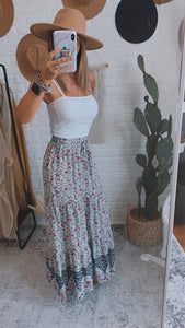 Harbor Boho Navy and Olive Floral Maxi Skirt, Free Shipping